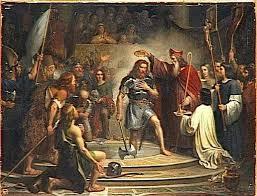 Clovis baptisé par l'évêque Remi de Reims
