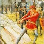 Arthur tirant Excalibur de la roche